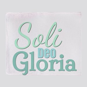 Soli Deo Gloria - Blue Green Throw Blanket