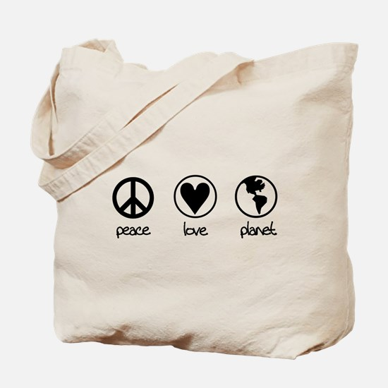 peace love planet Tote Bag