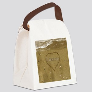 Lauren Beach Love Canvas Lunch Bag