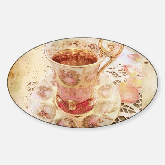 Victorian Cup of tea Sticker (Oval)
