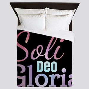 Soli Deo Gloria - purple Queen Duvet