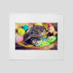 Happy Easter Turtle Throw Blanket