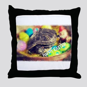 Happy Easter Turtle Throw Pillow