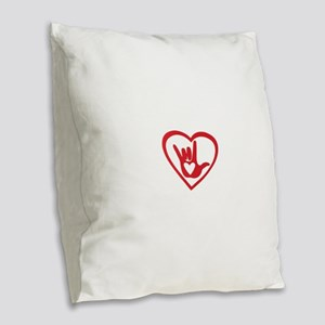 I love you with all my heart Burlap Throw Pillow