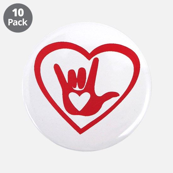 """I love you with all my heart 3.5"""" Button (10 pack)"""