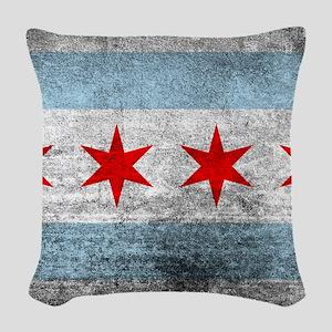 Vintage Distressed Chicago Fla Woven Throw Pillow
