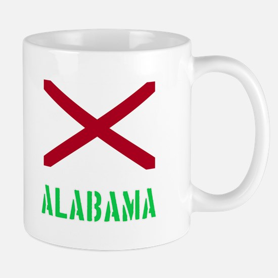 Alabama Flag Stencil Green Design Mugs