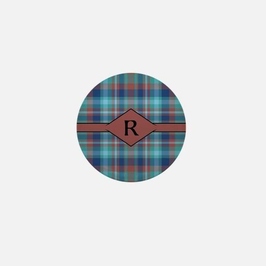 Marsala Plaid Monogram Mini Button