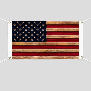 American Flag Vintage Distressed Wood Banner