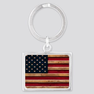 American Flag Vintage Distressed Wood Keychains