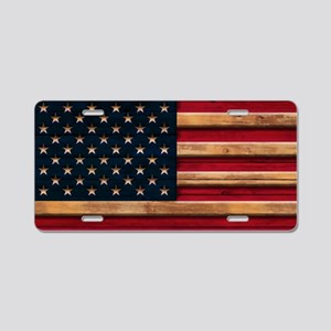American Flag Vintage Distr Aluminum License Plate