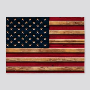 American Flag Vintage Distressed Wo 5'x7'Area Rug