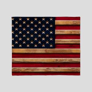 American Flag Vintage Distressed Woo Throw Blanket