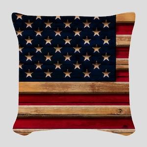 American Flag Vintage Distress Woven Throw Pillow