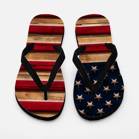 American Flag Vintage Distressed Wood Flip Flops