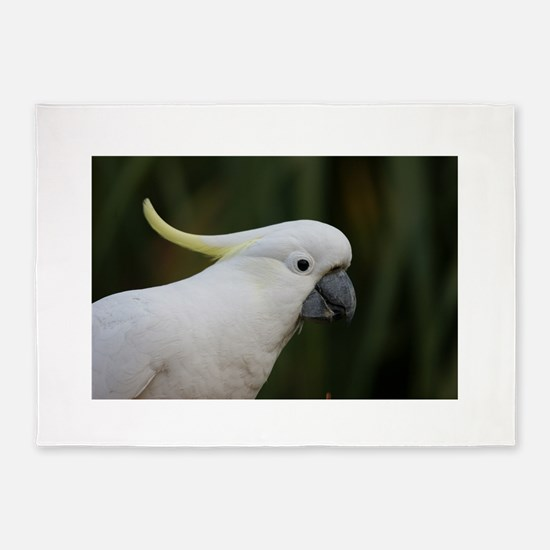 Cute White Cockatoo 5'x7'Area Rug