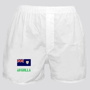 Anguilla Flag Stencil Green Design Boxer Shorts