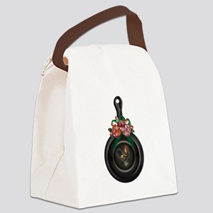 Rooster   Floral Iron Skillet Canvas Lunch Bag