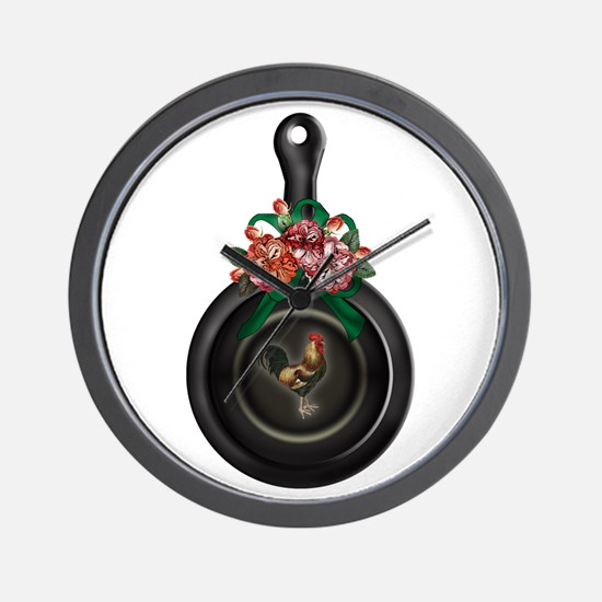 Rooster   Floral Iron Skillet Wall Clock