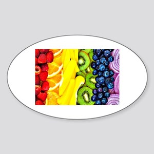 Rainbow Sliced Fruits and Vegetable Sticker (Oval)