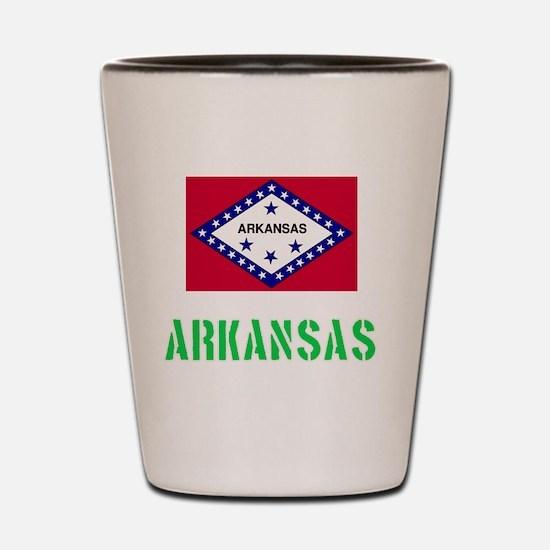 Arkansas Flag Stencil Green Design Shot Glass