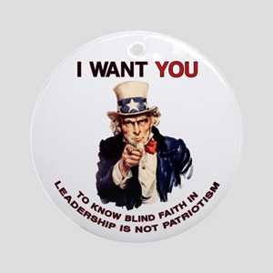 Blind Faith Uncle Sam Keepsake Ornament (Round)