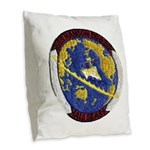 USS HANSON Burlap Throw Pillow