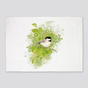 Cute Chickadee Bird in Poplar Tree 5'x7'Area Rug