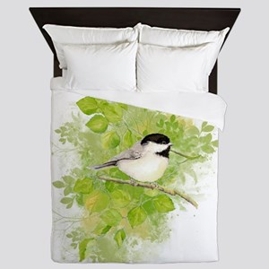 Cute Chickadee Bird in Poplar Tree Queen Duvet