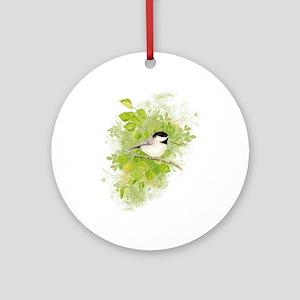 Cute Chickadee Bird in Poplar Tree Ornament (Round