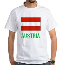 Austria Flag Stencil Green Design T-Shirt
