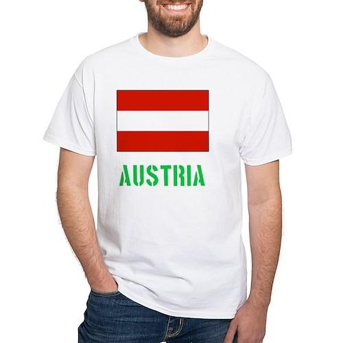 Austria Flag Stencil Green Design T-Shirt