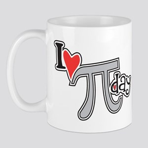 I Heart (love) Pi Day (left) Mugs