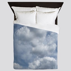 White Fluffy Clouds and Blue Sky Queen Duvet