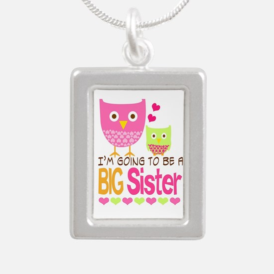 Big Sister Baby Owls I'm Silver Portrait Necklace
