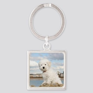 DOG AT THE BEACH Square Keychain