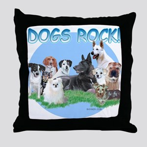Dogs Rock (rnd) Throw Pillow