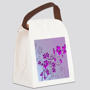 Magenta Flower Abstract Canvas Lunch Bag