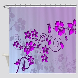 Magenta Flower Abstract Shower Curtain