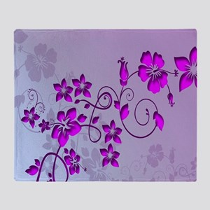 Magenta Flower Abstract Throw Blanket