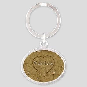 Katrina Beach Love Oval Keychain