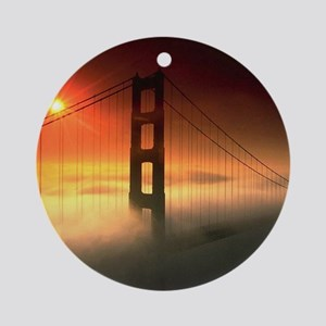 Fog Shrouded Golden Gate Ornament (Round)
