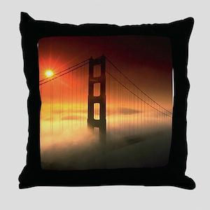 Fog Shrouded Golden Gate Throw Pillow