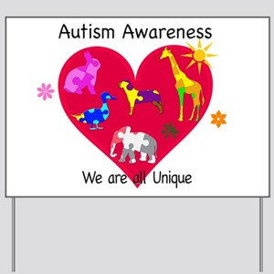 Autism Awareness Animals Yard Sign