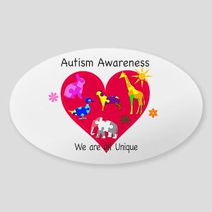 Autism Awareness Animals Sticker (Oval)