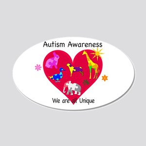 Autism Awareness Animals 20x12 Oval Wall Decal