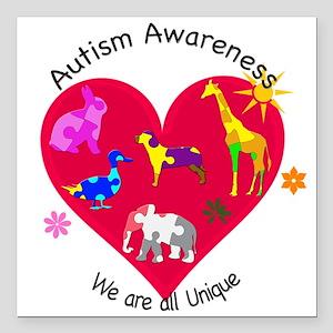 """Autism Awareness Animals Square Car Magnet 3"""" x 3"""""""