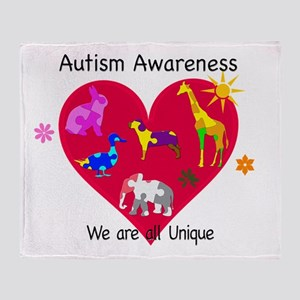Autism Awareness Animals Throw Blanket