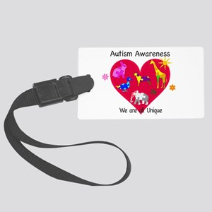 Autism Awareness Animals Large Luggage Tag
