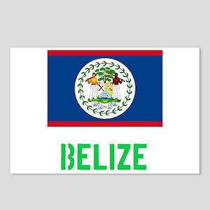 Belize Flag Stencil Green Postcards (Package of 8)